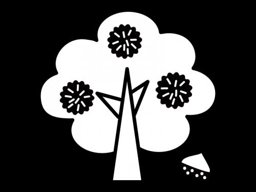 栗の木の白黒イラスト
