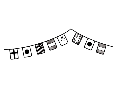 2連の国旗・万国旗ガーランドの白黒イラスト02