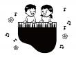 グランドピアノを弾く子供たちと音符の白黒イラスト