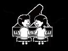 グランドピアノを弾く子供たちと音符の白黒イラスト02