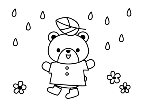 雨とクマの白黒イラスト