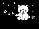 雨と川とクマの白黒イラスト